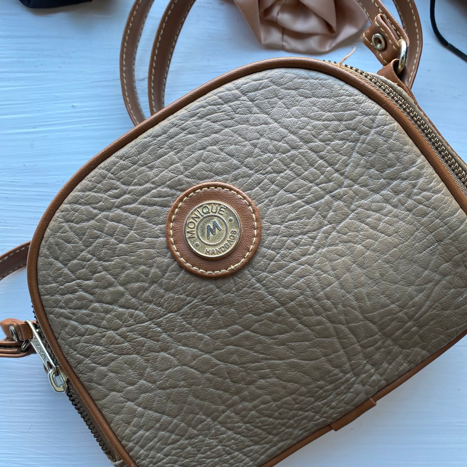 Beige and tan crossbody