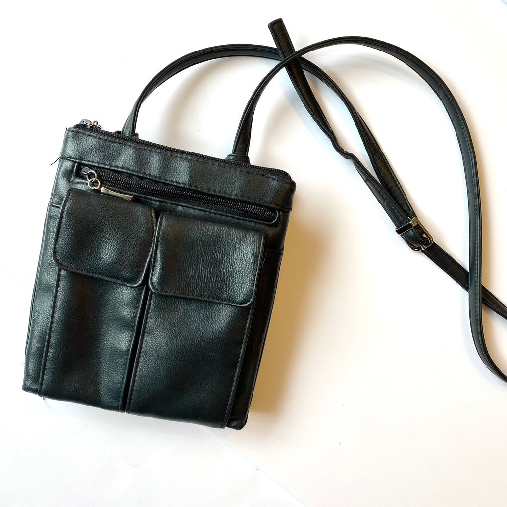 Crossbody black organizer purse