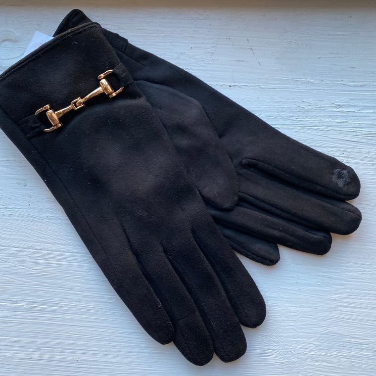 Black buckle gloves