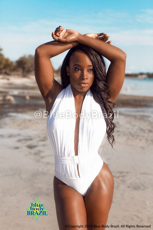 White Belted One Piece Bathing Suit