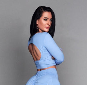Baby Blue Long Sleeve Cropped Fitness Top