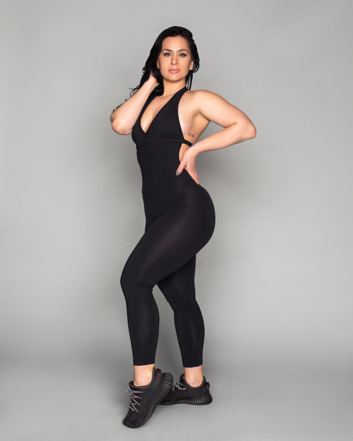 Black Backless Bodysuit (Thick Supplex)
