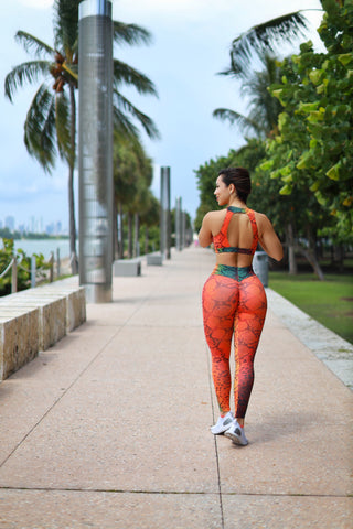 Orange Snake Print Leggings (Light Supplex)