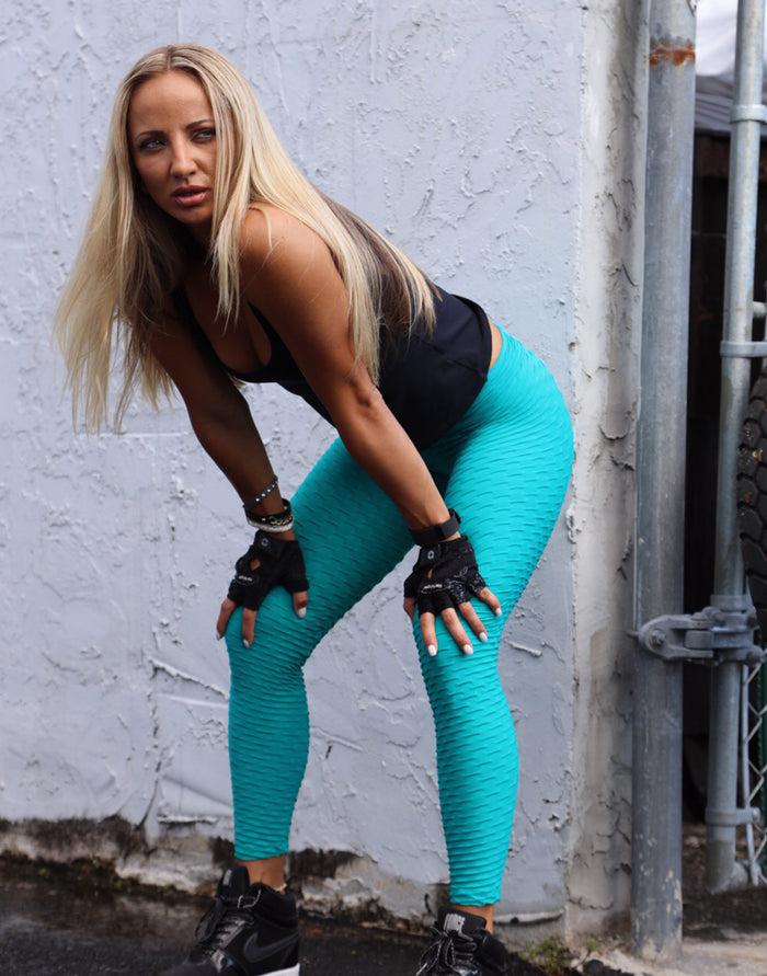 Green Aqua Leggings (Scrunchy Supplex)