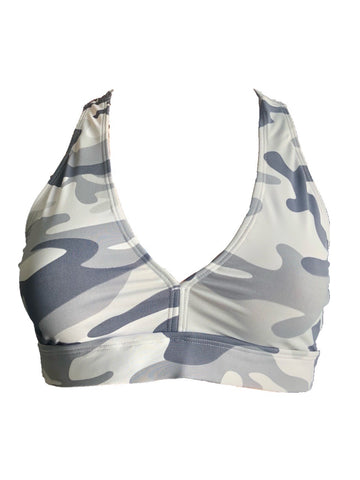 White Camouflage  Fitness Top