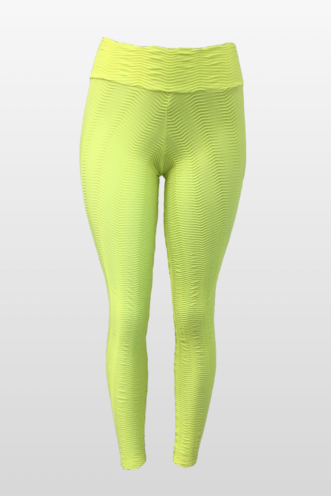 Neon Avocado Fish Scale Leggings (Scrunchy Supplex)