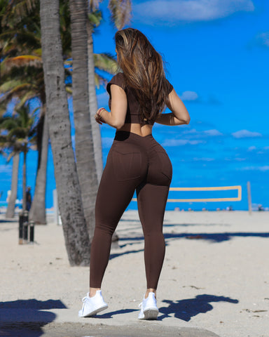 Brown Bum Bum Pocket Leggings (Light Supplex)