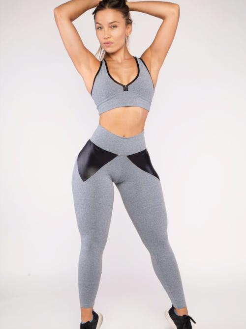 Heather Gray and Black Leggings (Thick Supplex) | BBB Fit