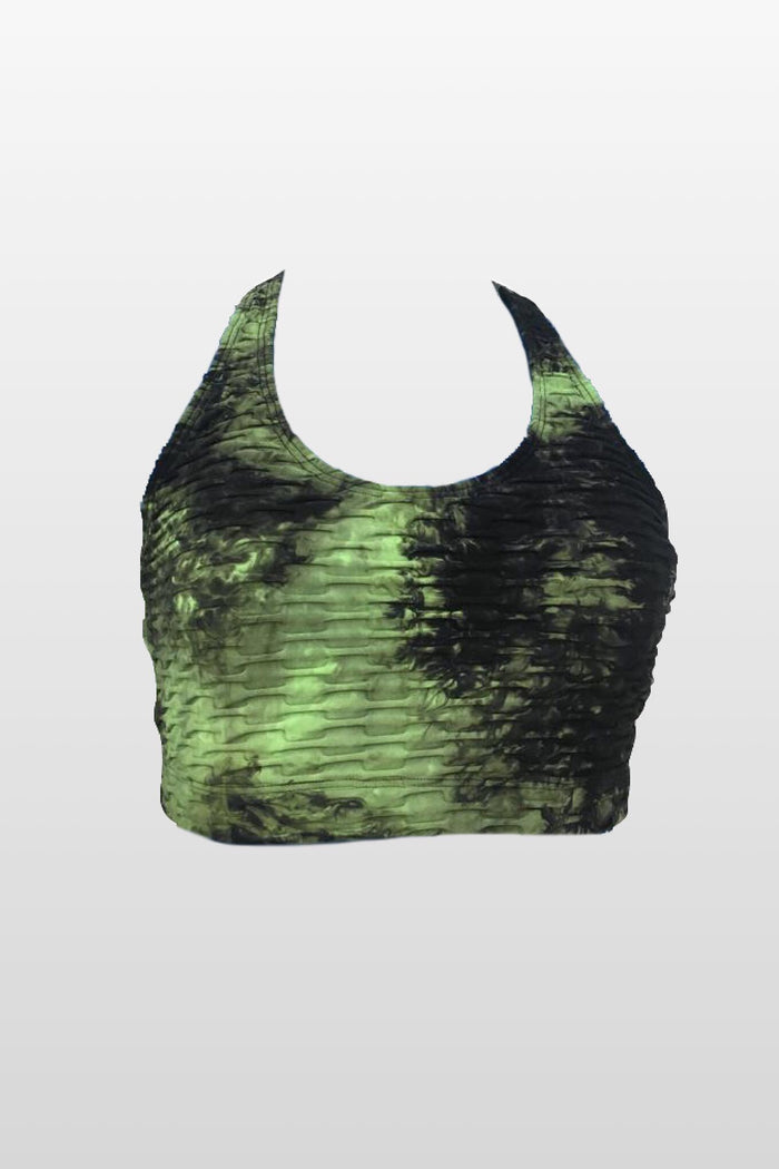 Green Spots Tie Dye Sports Bra