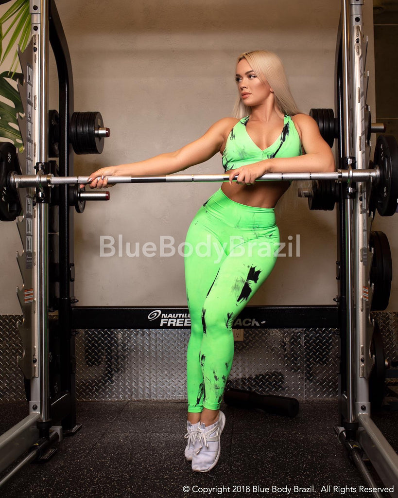 Valery Neon Green Tie Dye Leggings (Light Supplex)
