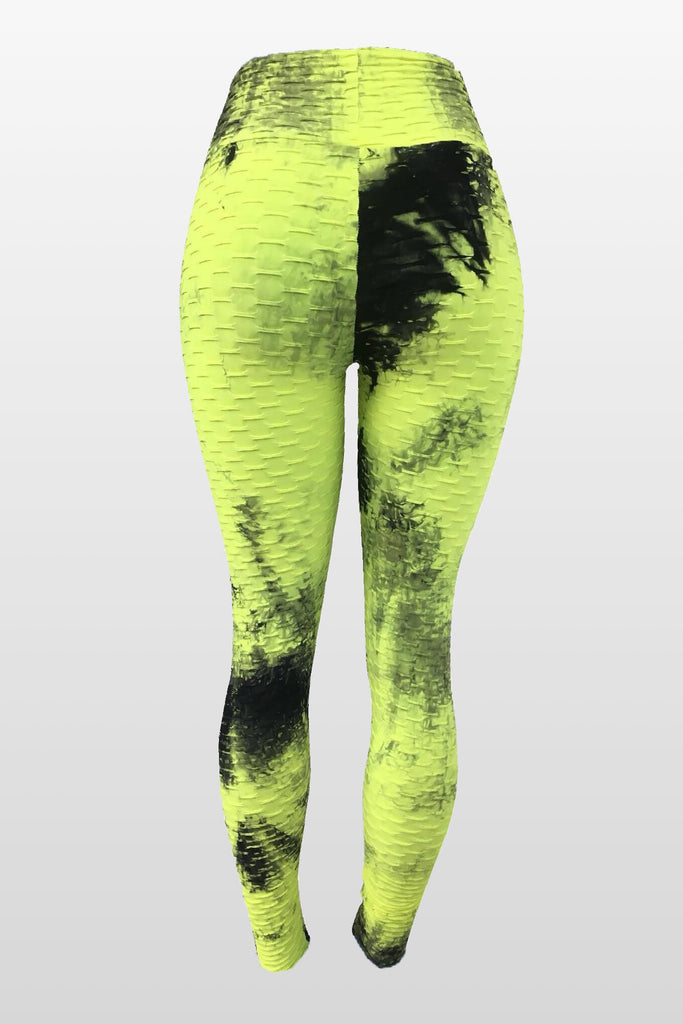 Light Avocado Tie Dye Leggings(Scrunchy Supplex)