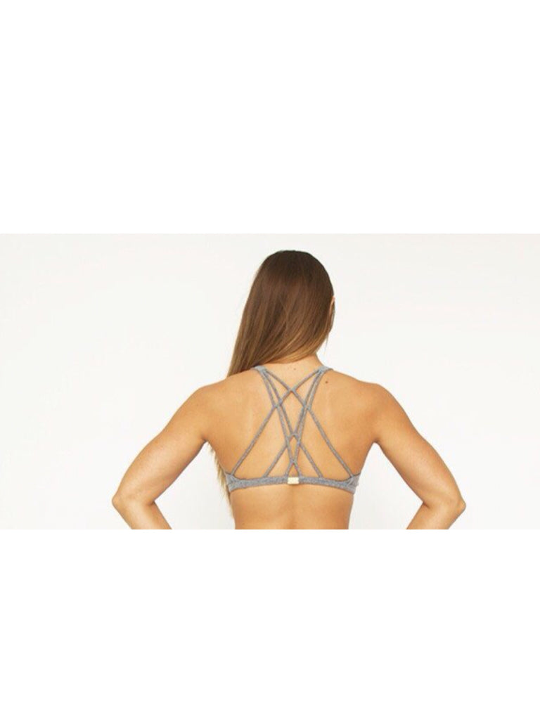 Grey Crisscross Bra Top ( thick supplex)