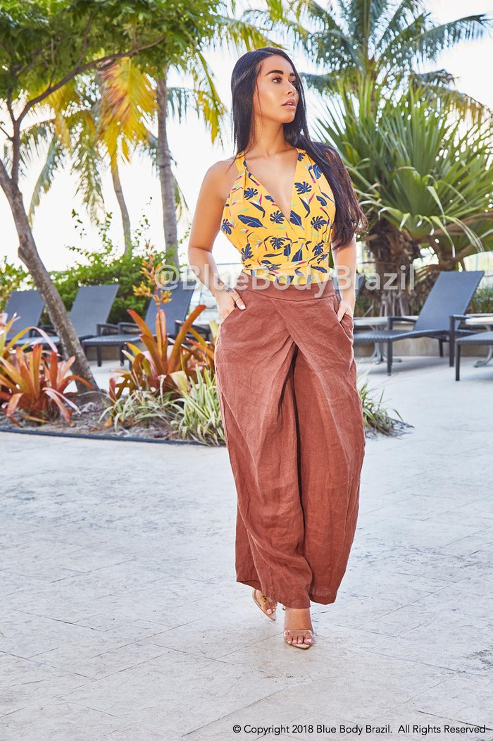 Brown Venus Linen Pants