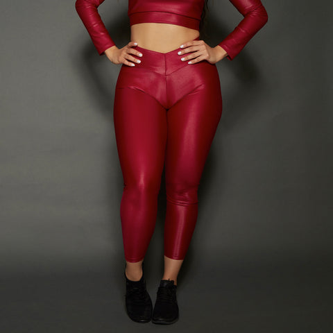 Red Shine Liquid Bum Bum Pocket Leggings