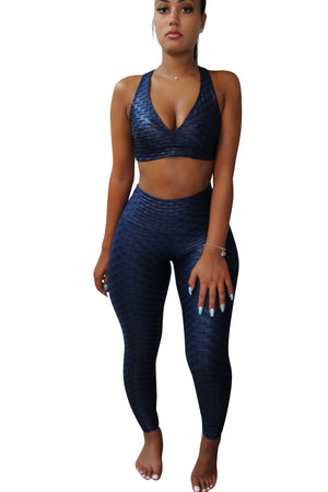 Fit Life Navy Blue Leggings (Scrunchy Supplex)
