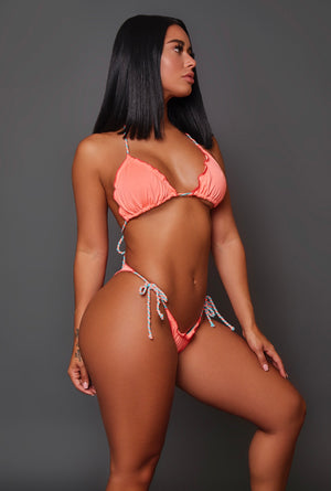 Peach Ruffle Swimwear (2 Piece Set)
