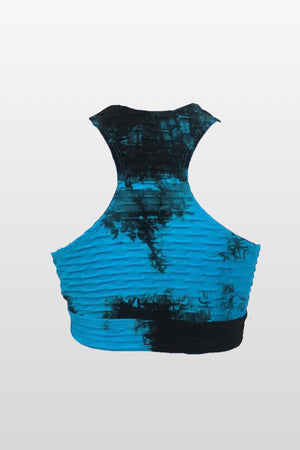 Blue/Black Spots Tie Dye Sports Bra