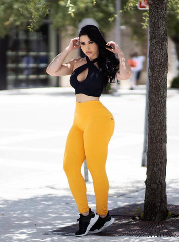 Soleil Yellow Bum Bum Pocket Leggings (Light Supplex)