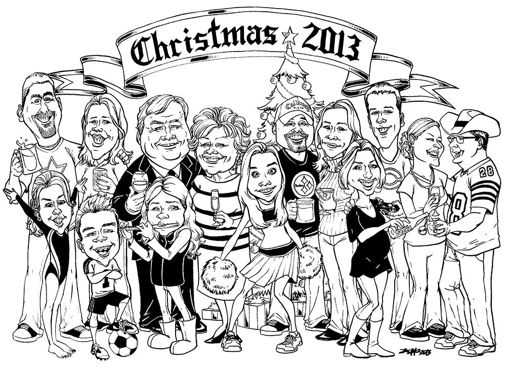 Family Caricature Black and White