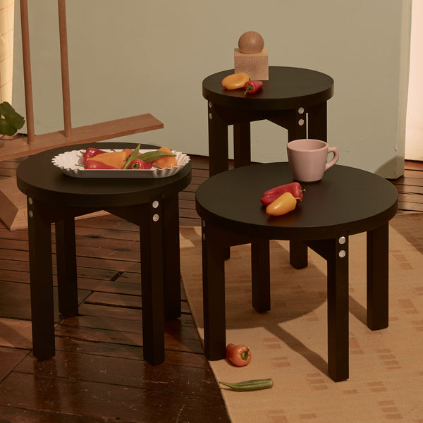 Good Thing Pearl Table, Ebonized Ash & Mother of Pearl