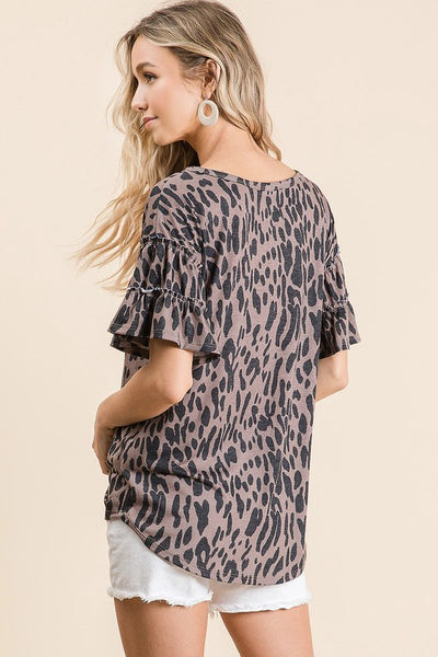 Leopard Tiered Sleeves Top