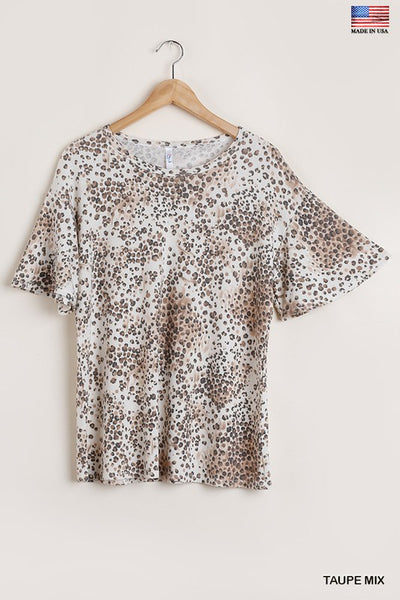 Bell Sleeve Animal Print Top