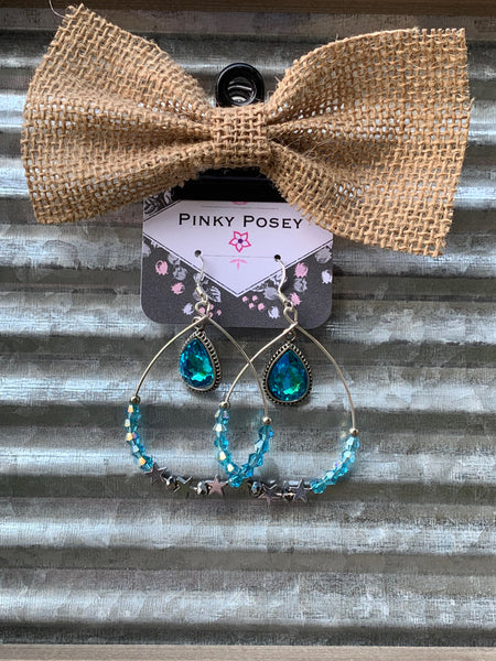 Turquoise Beaded Teardrops