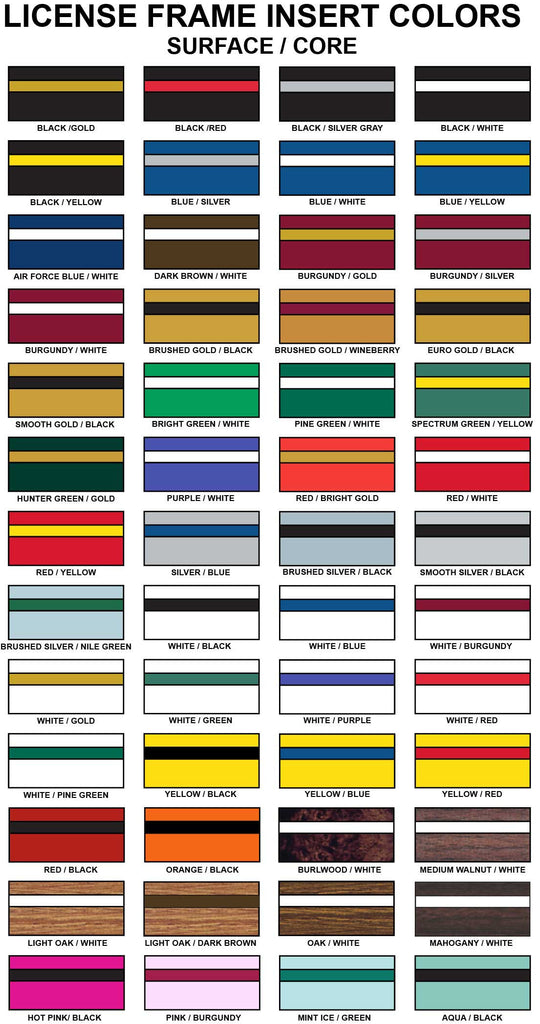 license frame insert colors