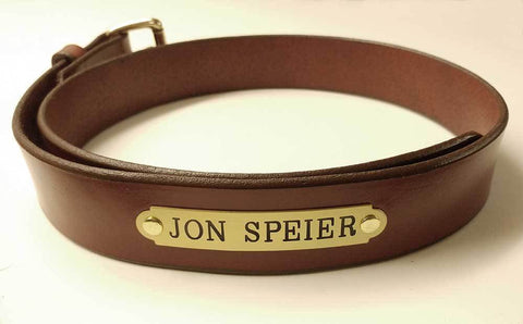 leather garrison belt with engraved nameplate