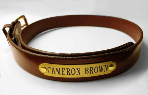 "leather garrison belt 1 1/4"" with engraved brass nameplate"