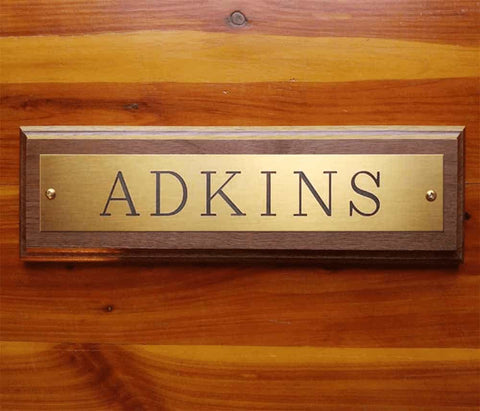 Engraved Brass Name Plate on Solid Walnut Wood Plaque starting at