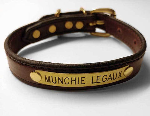 "Leather Dog Collar 3/4"" with engraved name plate"