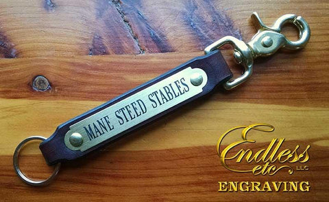 Leather Key Fob with Engraved Brass Plate & Trigger Snap
