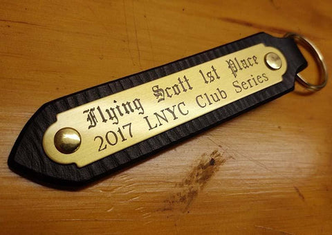 engraved leather key fob with brass name plate