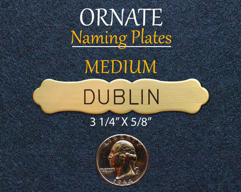 ORNATE MEDIUM Naming Plate Thick Fancy Solid Brass or Nickel Silver Custom Engraved