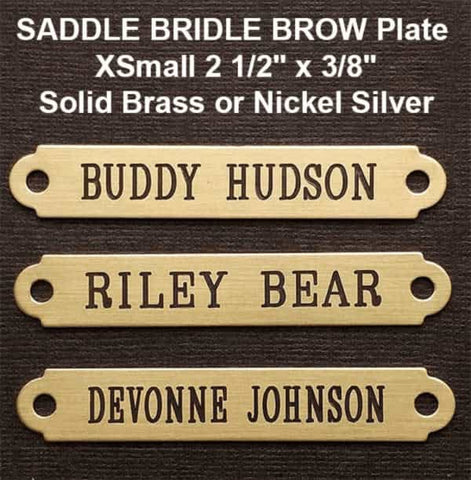 "custom engraved brass saddle bridle brow plates 2 1/2"" x 3/8"""