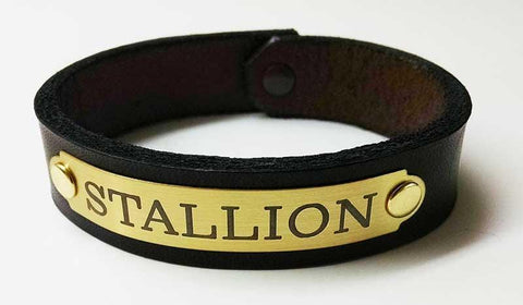 engraved brass and leather horse bracelet mens
