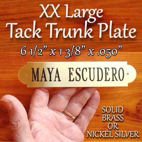 "TACK TRUNK PLATE XXlarge (6 1/2"" X 1 3/8""), .050 inch Thick Notched Brass or Nickel Silver Name Plate Custom Engraved Starting at"