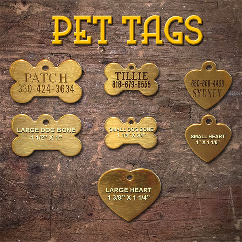 Engraved Pet Name Tags - Solid Brass, Brushed finish starting at
