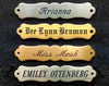 engraved saddle name plate ornate fancy brass