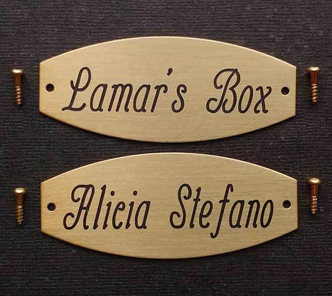 "Squared Oval Tack Trunk Plate Custom Engraved 3"" x 1 1/4"" Solid Brass or Nickel Silver starting at"