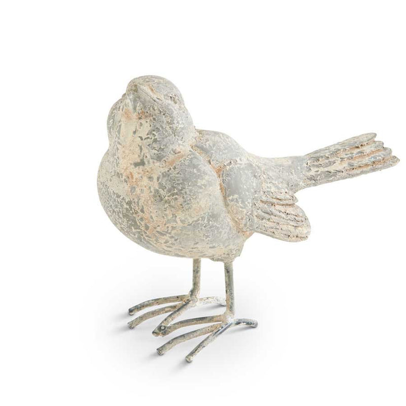 5 Inch Distressed Gray Resin Bird w/ Metal Legs