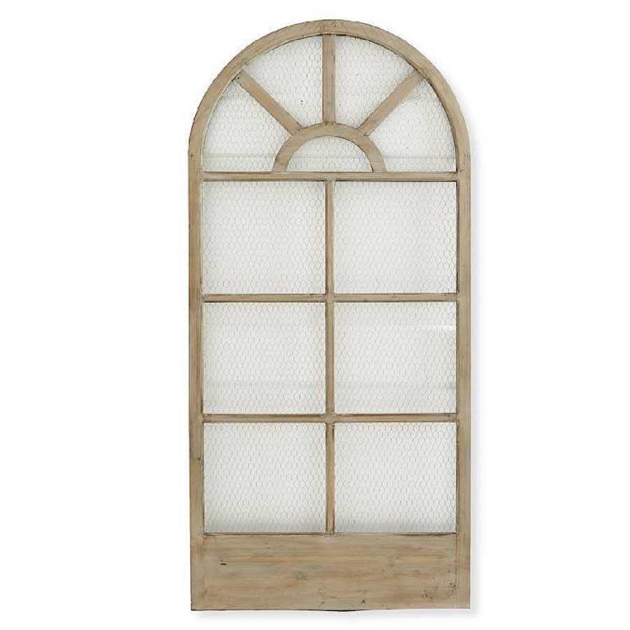 Antique White Wood Window Frame w/ Metal Mesh Inset - E.T. Tobey Company