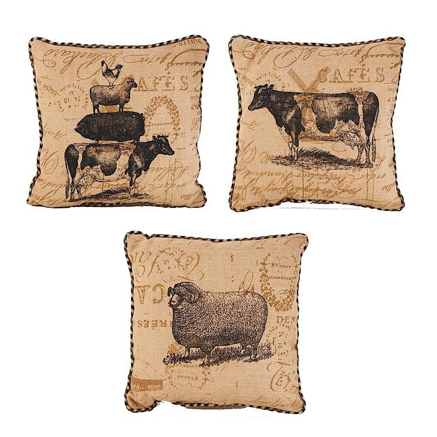 Square Linen Pillows w/ Assorted Farm Animals - E.T. Tobey Company