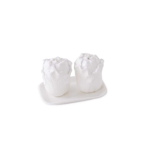 White Ceramic Cabbage Salt & Pepper Shakers w/ Tray - E.T. Tobey Company