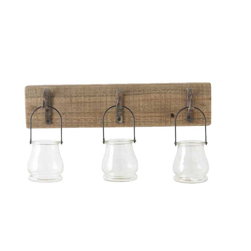 Wall Hanger with 3 Glass Bottle Wire Hangers