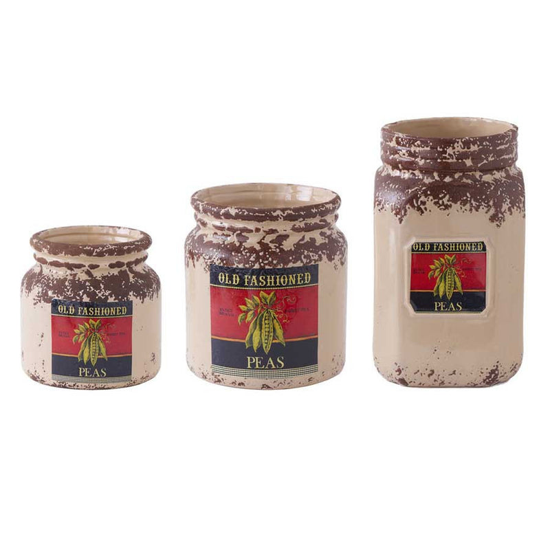 Ceramic Canisters w/ Vintage Pea Motif - E.T. Tobey Company