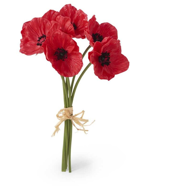 Red Real Touch Mini Poppy Bouquet