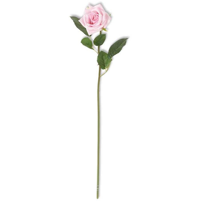 Real Touch Pink Rose Stem with Foliage