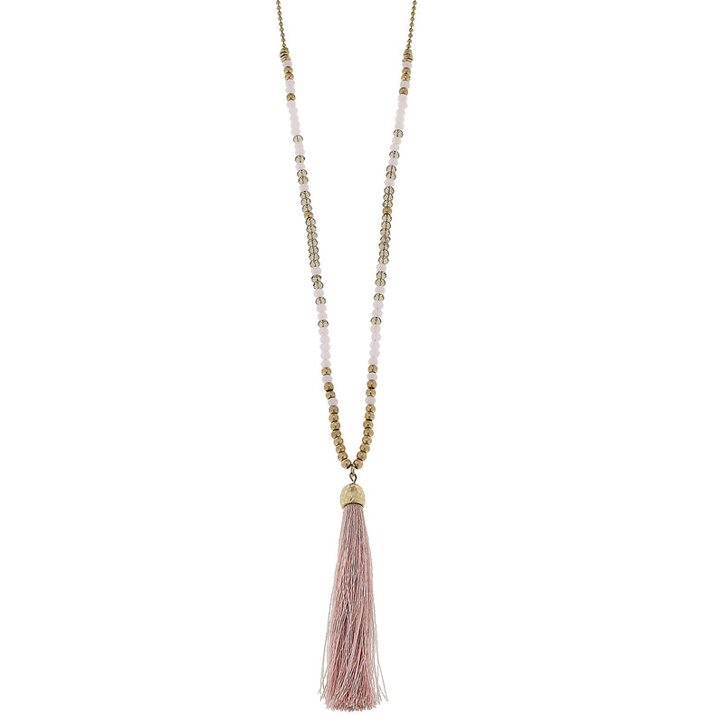 Beaded Glass Tassel Necklace